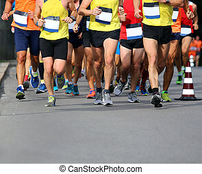 Runners during the Marathon in the city street