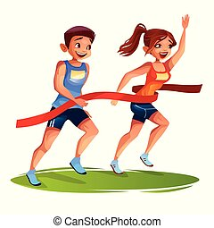 Runners finish woman and man vector illustration