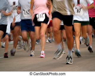 Runners in a long distance race - marathon