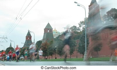 Runners in front of Kremlin on marathon