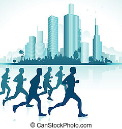Runners in Urban Backdrop