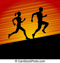 Men and Women Running Silhouette. Vector - Runners, Men and...