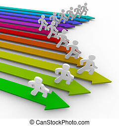 Runners on Colored Arrows - Many runners sprint on colored...