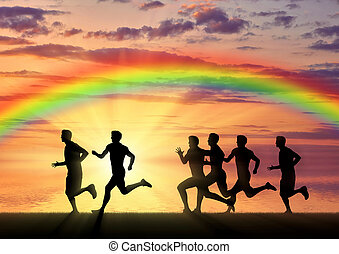 Runners on a rainbow background and sea
