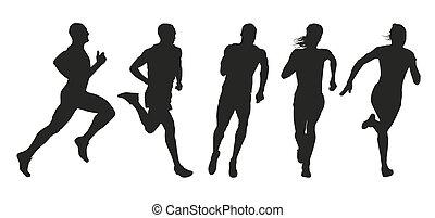 runners., silhuetas, jogo, esboços, cobrança, vetorial