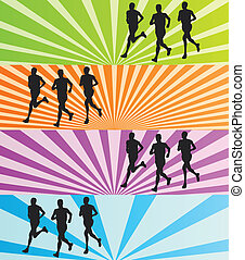 Runners vector background banner set