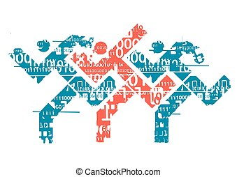Runners with binary codes - Grunge stylized icon with three...