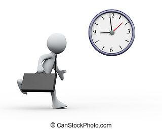 runnig, uomo affari, 3d, orologio