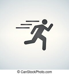 runnin man icon on white background, fitness, sport
