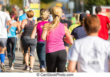 running., グループ, 人々