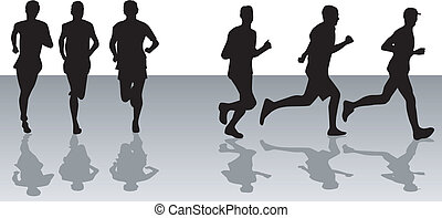 Running 2  - black silhouettes