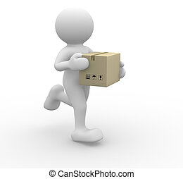 Running - 3d people icon running with a box in his hand - ...