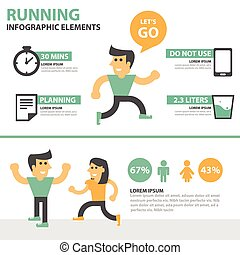 Running activity people infographic
