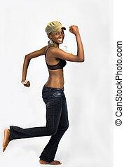 Running african girl