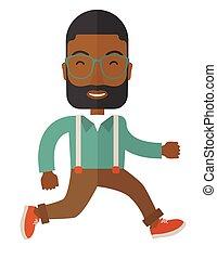 running., africano, giovane, uomo affari