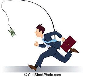 Running after money - Stressed greedy businessman running...