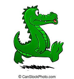 Running alligator . funny alligator . cartoon alligator