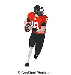 Running american football player in red jersey with ball, front view. Flat vector illustration