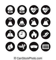 Running and Burning calories vector,icon set