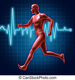 Running and fitness symbol represented by a jogging human ...