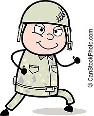 Running and Smiling - Cute Army Man Cartoon Soldier Vector Illustration