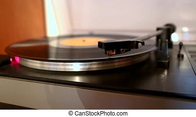 running and stopping gramophone turntable disc - Running and...