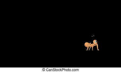 Running ant. Animated Motion Graphic with Alpha Channel.