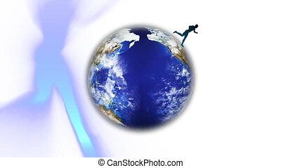 Running around the world - 3D man running around the world