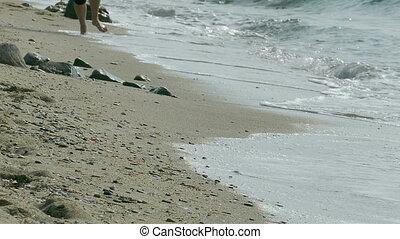 Running at seaside