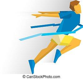 Running athlete crosses a finish line ribbon