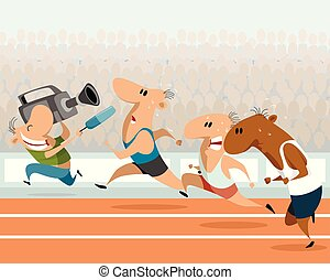 Running athletes and correspondent - Vector illustration of...