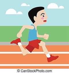 Running athletic sport vector cartoon illustration set