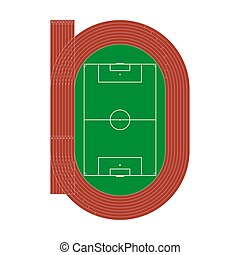 Running athletics track with soccer stadium. Top view of athletics arena with lines and marks. Vect