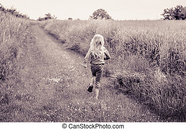 girl with long blond hair back view running away