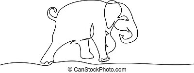 Running baby elephant. Continuous one line drawing.