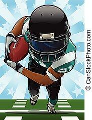 Running Back - Cartoon style illustration: Running back...