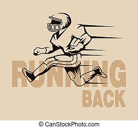 Running Back Graphic Isolated - Vector vintage illustration...