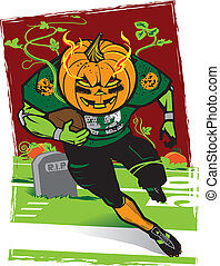 A scary football player with a jack o lantern head