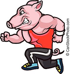 Running Big Hog Cartoon - Vector Illustration of Big Hog...