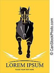 Running Black Horse. Black Stallion