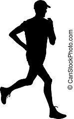 Running black silhouettes. Vector illustration.