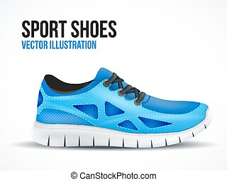 Running blue shoes. Bright Sport sneakers symbol.