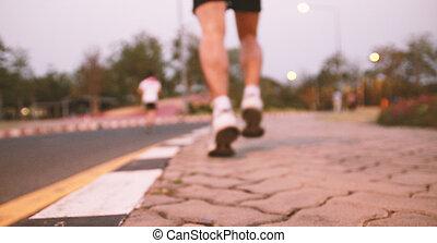 Running. blurred background
