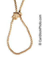 Running bowline knot tied on jute rope isolated - Running ...