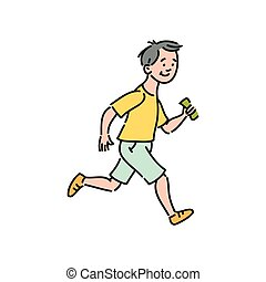 Running boy cartoon character vector illustration in sketch style isolated.