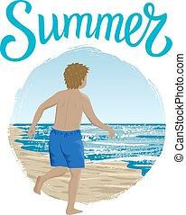 Running boy in summer
