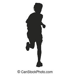 Running boy vector silhouette