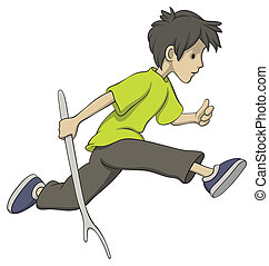 Running boy with a stick - Illustration of running boy with...