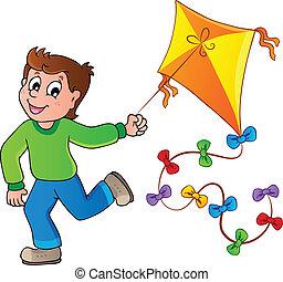 Running boy with kite - vector illustration.