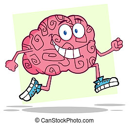 Running Brain Cartoon Character